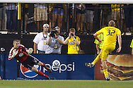 26 JUNE 2010:  Troy Perkins #23 of DC United  makes a save of Steven Lenhart of the Columbus Crew (32) PK during MLS soccer game between DC United vs Columbus Crew at Crew Stadium in Columbus, Ohio on May 29, 2010. Galaxy defeated the Crew 2-0.