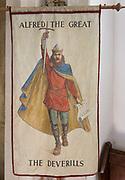 King Alfred the Great banner, Village parish church of Saint Mary, Kingston Deverill, Somerset, England, UK