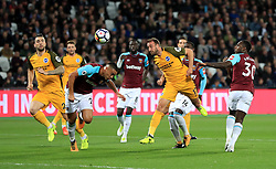 Brighton & Hove Albion's Glenn Murray scores his side's first goal of the game during the Premier League match at the London Stadium.