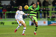 Forest Green Rovers Dan Wishart(17) and Port Vale's Marcus Harness(7) challenge for the ball during the EFL Sky Bet League 2 match between Forest Green Rovers and Port Vale at the New Lawn, Forest Green, United Kingdom on 6 January 2018. Photo by Shane Healey.