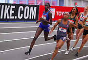 Athing Mu, Olivia Baker and Raevyn Rogers run in the Michelob Lite Ultra 600m during the USA Indoor Track and Field Championships in Staten Island, NY, Sunday, Feb 24, 2019. Mu won in an American record 1:23.77. (Rich Graessle/Image of Sport)