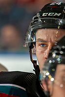 KELOWNA, BC - OCTOBER 12: Kyle Topping #24 of the Kelowna Rockets stands at the boards during a time out against the Kamloops Blazers at Prospera Place on October 12, 2019 in Kelowna, Canada. (Photo by Marissa Baecker/Shoot the Breeze)