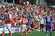 Charlton Athletic striker Nicky Ajose (10) wins the header during the EFL Sky Bet League 1 match between Fleetwood Town and Charlton Athletic at the Highbury Stadium, Fleetwood, England on 10 September 2016. Photo by John Marfleet.