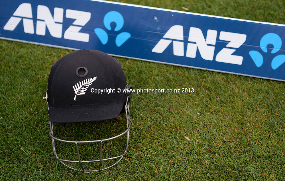 Helmet on the boundary on Day 2 of the 2nd cricket test match of the ANZ Test Series. New Zealand Black Caps v West Indies at The Basin Reserve in Wellington. Thursday 12 December 2013. Mandatory Photo Credit: Andrew Cornaga www.Photosport.co.nz