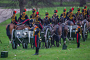 Being directed into position. On the 100th anniversary of women getting the vote, Kings troop is led by female officers and has a high proportion of female troopers - The King's Troop Royal Horse Artillery, ride their horses and gun carriages past Buckingham Palace to Green Park to stage a 41 Gun Royal Salute to mark the 66th Anniversary of the Accession of Her Majesty The Queen.