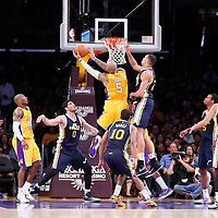 19 October 2014: Los Angeles Lakers forward Carlos Boozer (5) goes for the layup during the Los Angeles Lakers 98-91 victory over the Utah Jazz, in a preseason game, at the Staples Center, Los Angeles, California, USA.