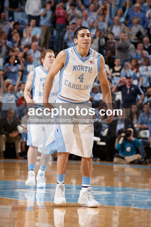 CHAPEL HILL, NC - FEBRUARY 22: Luke Davis #4 of the North Carolina Tar Heels plays against the Wake Forest Demon Deacons on February 22, 2014 at the Dean E. Smith Center in Chapel Hill, North Carolina. North Carolina won 105-72. (Photo by Peyton Williams/UNC/Getty Images) *** Local Caption *** Luke Davis
