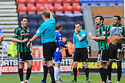 Ian Henderson sent off during the Sky Bet League 1 match between Wigan Athletic and Rochdale at the DW Stadium, Wigan, England on 28 March 2016. Photo by Daniel Youngs.