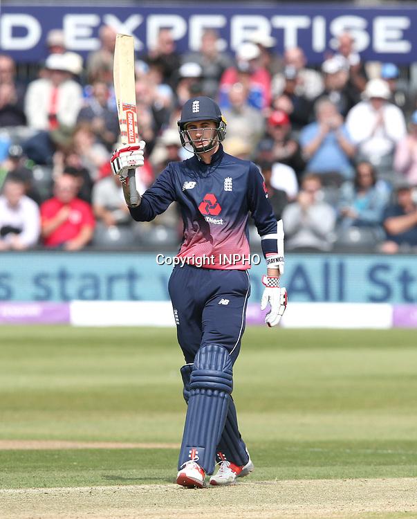 1st One Day International, Bristol Cricket Ground, England 5/5/2017<br /> England vs Ireland<br /> England's Alex Hales celebrates his half-century<br /> Mandatory Credit &copy;INPHO/Andrew Fosker