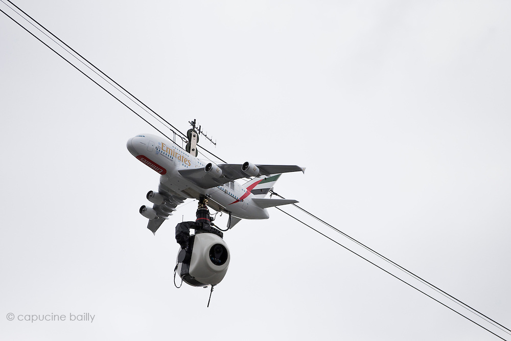 Paris, France. Roland Garros. May 26th 2013.<br /> A plane TV camera flyes on top of the court Philippe Chatrier
