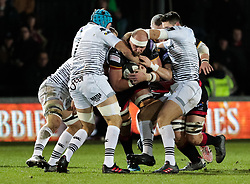 Dragons' Rynard Landman under pressure from  Ospreys' Justin Tipuric<br /> <br /> Photographer Simon King/Replay Images<br /> <br /> Guinness Pro14 Round 12 - Dragons v Cardiff Blues - Sunday 31st December 2017 - Rodney Parade - Newport<br /> <br /> World Copyright © 2017 Replay Images. All rights reserved. info@replayimages.co.uk - http://replayimages.co.uk