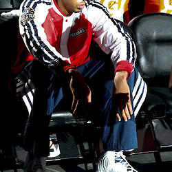 Oct 23, 2013; New Orleans, LA, USA; New Orleans Pelicans power forward Anthony Davis (23) waiting during introductions before a preseason game against the Miami Heat at New Orleans Arena. Mandatory Credit: Derick E. Hingle-USA TODAY Sports