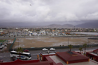 "(Image five of nine) Panorama of the Ensenada harbor in Mexico on a grey and raining day from the deck of the MV World Odyssey. The other cruse ship is the Carnival Imagination. Once all of the students, faculty, staff, and life long learners were aboard we would be ready to begin the 102 day ""round the world"" Semester at Sea Spring 2016 Voyage. Composite of nine images taken with a Leica T camera and 23 mm f/2 lens (ISO 250, 23 mm, f/2, 1/80 sec). Panorama stitched using AutoPano Giga Pro."