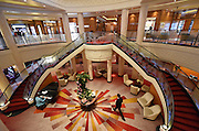 The Grand Lobby of the remastered Queen Mary 2 is unveiled, Wednesday, July 6, 2016, at Brooklyn Cruise Terminal in New York, its U.S. homeport.  The Queen Mary 2 spent 25 days in dry dock and a refit that cost in the region of $132 million, renovating its staterooms, restaurants and public areas.  (Diane Bondareff/AP Images for Cunard)