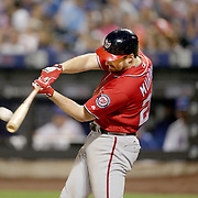 NEW YORK, NEW YORK - July 09: Daniel Murphy #20 of the Washington Nationals hits a double scoring Jayson Werth #28 of the Washington Nationals in the fifth inning during the Washington Nationals Vs New York Mets regular season MLB game at Citi Field on July 09, 2016 in New York City. (Photo by Tim Clayton/Corbis via Getty Images)