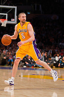 16 March 2012: Guard Steve Blake of the Los Angeles Lakers in game action against the Minnesota Timberwolves during the second half of the Lakers 97-92 victory over the Timberwolves at the STAPLES Center in Los Angeles, CA.