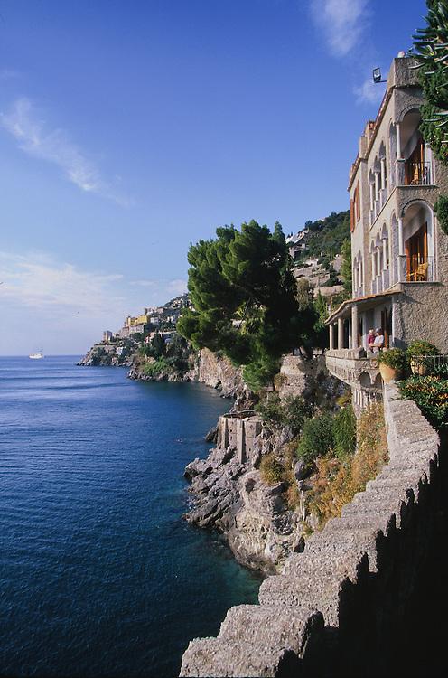 Europe, Italy, Salerno, Amalfi Coast, historic hotel on cliff over the Tyrrhenian Sea