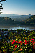 High angle view of the Mekong River; Luang Prabang, Laos, from Mount Phousi.