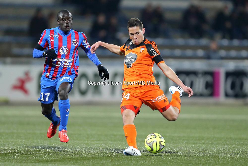 Raphael GUERREIRO / Ngolo KANTE - 14.03.2015 - Lorient / Caen - 29eme journee de Ligue 1<br /> Photo : Vincent Michel / Icon Sport