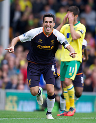 29-09-2012 VOETBAL: NORWICH CITY - FC LIVERPOOL: NORWICH<br /> Nuri Sahin celebrates scoring the third goal against Norwich City during the English Premier League 06th round match between Norwich City FC and Liverpool FC at Carrow Road, Norwich<br /> ***NETHERLANDS ONLY***<br /> ©2012-FotoHoogendoorn.nl-David Rawcliff