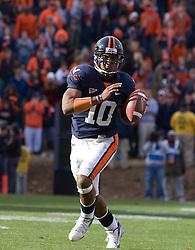 Virginia quarterback Jameel Sewell (10)..The #8 ranked Virginia Tech Hokies defeated the #16 ranked Virginia Cavaliers 33-21 at Scott Stadium in Charlottesville, VA on November 24, 2007.