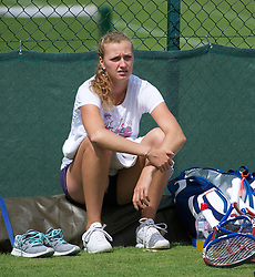 LONDON, ENGLAND - Friday, July 1, 2011: Petra Kvitova (CZE) practices ahead of her first Grand Slam Final match on day eleven of the Wimbledon Lawn Tennis Championships at the All England Lawn Tennis and Croquet Club. (Pic by David Rawcliffe/Propaganda)