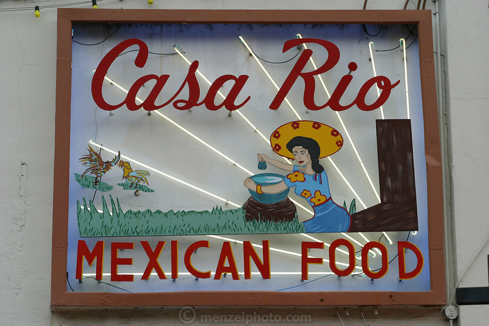 Casa Rio Mexican Food Restaurant sign near the thee River Walk along the San Antonio River in downtown San Antonio, Texas.