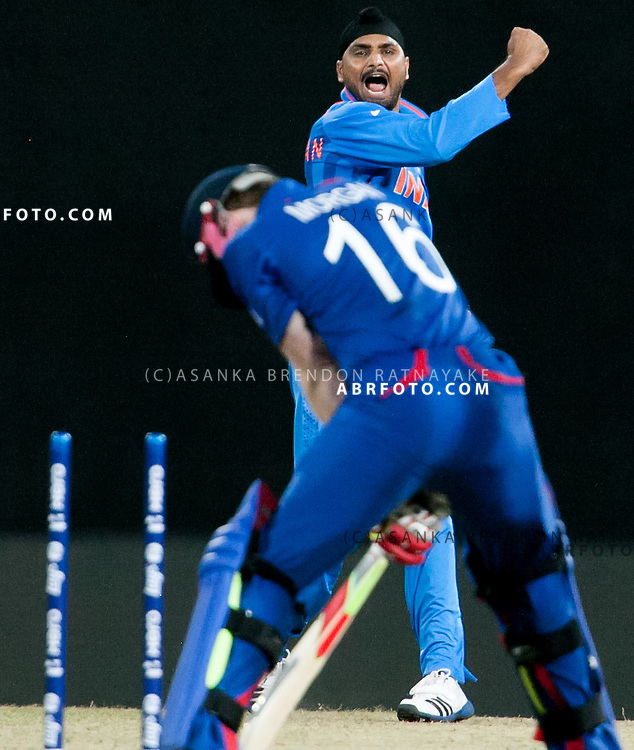 Harbhajan Singh celebrates after getting a wicket during the ICC world Twenty20 Cricket held in Sri Lanka.