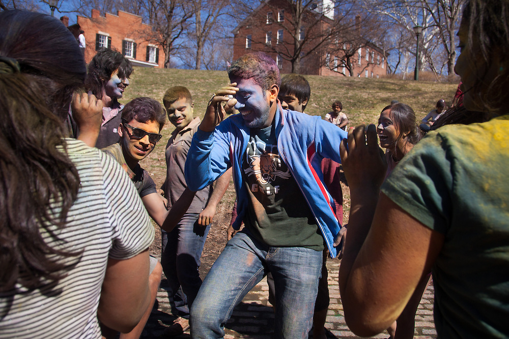 Subhabrata Ghoshal dance in celebration of the Holi Festival of Color organized by Ohio University's Indian Students Association Saturday March 15, 2014.  Photo by Ohio University / Jonathan Adams