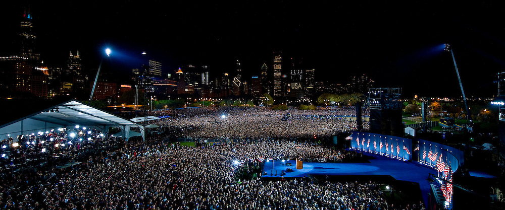President-elect Barack Obama addresses thousands of supporters in Grant Park on election night in Chicago, 2008.