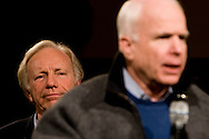 Sen. John McCain (R-AZ, right) campaigns with the support of Sen. Joe Lieberman (I-CT) in Derry, N.H., on Thursday, Jan. 3, 2008.