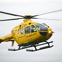 Bond Helicopters spare Air Ambulance EC135 T2i helicopter, G-SPHU pictured landing at Perth Airport<br /> Picture by Graeme Hart.<br /> Copyright Perthshire Picture Agency<br /> Tel: 01738 623350  Mobile: 07990 594431