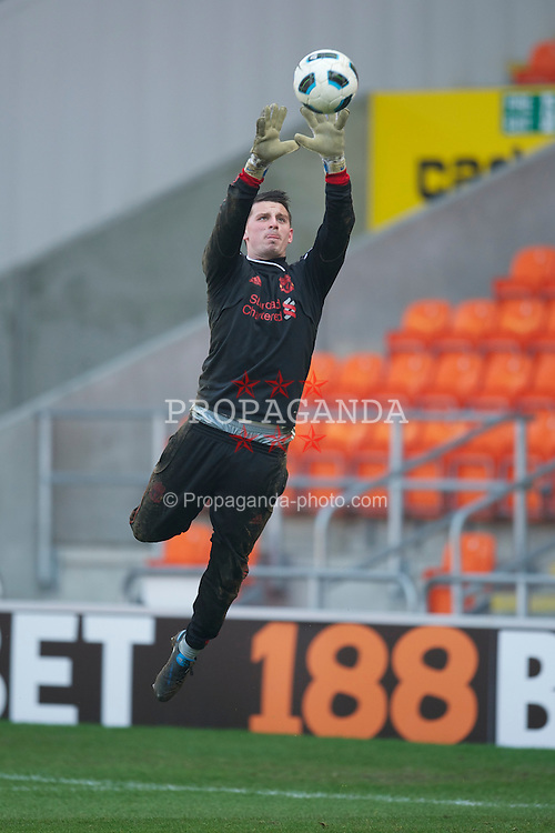 BLACKPOOL, ENGLAND - Wednesday, March 3, 2011: Liverpool's goalkeeper Deale Chamberlain warms-up before the FA Premiership Reserves League (Northern Division) match against Blackpool at Bloomfield Road. (Photo by David Rawcliffe/Propaganda)
