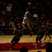 17 January 2018: San Diego State Aztecs forward Malik Pope (21) dunks the ball on a fast break against Fresno in the first half. San Diego State dropped a tough game to Fresno State 77-73 at Viejas Arena. <br /> More game action at www.sdsuaztecphotos.com