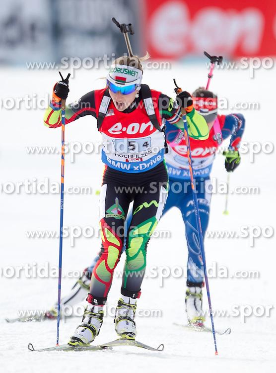 13.12.2014, Biathlonarena, Hochfilzen, AUT, E. ON IBU Weltcup, Staffel, Damen, im Bild Darya Domracheva (BLR) // during Womens Relay of E. ON IBU Biathlon World Cup at the Biathlonstadium in Hochfilzen, Austria on 2014/12/13. EXPA Pictures © 2014, PhotoCredit: EXPA/ JFK