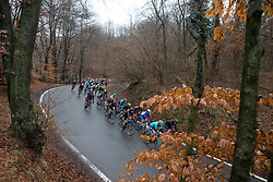 The peloton leaves Bedero Valcuvio during the Trofeo Alfredo Binda - a 131,1 km road race, between Taino and Cittiglio on March 18, 2018, in Varese, Italy. (Photo by Balint Hamvas/Velofocus.com)