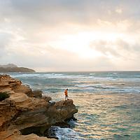 Sunrise along the coast of Kauai, Hawaii, USA. Model released