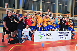 Players of RK Celje Pivovarna Lasko celebrates during handball match between RK Krka and RK Celje Pivovarna Lasko in the Final of Slovenian Men Handball Cup 2018, on April 22, 2018 in Sportna dvorana Ljutomer , Ljutomer, Slovenia. Photo by Mario Horvat / Sportida