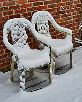 Pair of snowy chairs. Late Autumn Backyard Nature in New Jersey. Image taken with a Nikon Df camera and 58 mm f/1.4 lens (ISO 100, 58 mm, f/5.6, 1/160 sec)