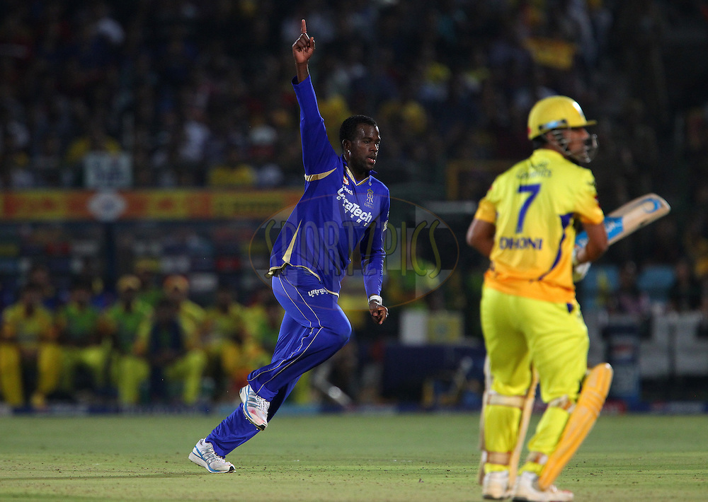 Kevon Cooper celebrates the wicket of MS Dhoni during match 61 of the Pepsi Indian Premier League ( IPL) 2013  between The Rajasthan Royals and the Chennai SUperkings held at the Sawai Mansingh Stadium in Jaipur on the 12th May 2013..Photo by Ron Gaunt-IPL-SPORTZPICS ..Use of this image is subject to the terms and conditions as outlined by the BCCI. These terms can be found by following this link:..http://www.sportzpics.co.za/image/I0000SoRagM2cIEc