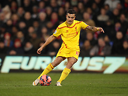 Liverpool's Philippe Coutinho shoots - Photo mandatory by-line: Robbie Stephenson/JMP - Mobile: 07966 386802 - 14/02/2015 - SPORT - Football - London - Selhurst Park - Crystal Palace v Liverpool - FA Cup - Fifth Round