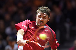 21.11.2014, Stade Pierre Mauroy, Lille, FRA, Davis Cup Finale, Frankreich vs Schweiz, im Bild Stanislas Wawrinka (SUI) // during the Davis Cup Final between France and Switzerland at the Stade Pierre Mauroy in Lille, France on 2014/11/21. EXPA Pictures © 2014, PhotoCredit: EXPA/ Freshfocus/ Valeriano Di Domenico<br /> <br /> *****ATTENTION - for AUT, SLO, CRO, SRB, BIH, MAZ only*****