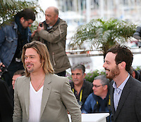 Brad Pitt, Scoot McNairy, at the Killing Them Softly photocall at the 65th Cannes Film Festival France. Tuesday 22nd May 2012 in Cannes Film Festival, France.