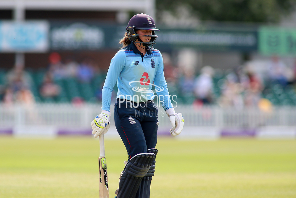 Fran Wilson of England (35) is out and walks off the field during the Royal London Women's One Day International match between England Women Cricket and Australia at the Fischer County Ground, Grace Road, Leicester, United Kingdom on 4 July 2019.