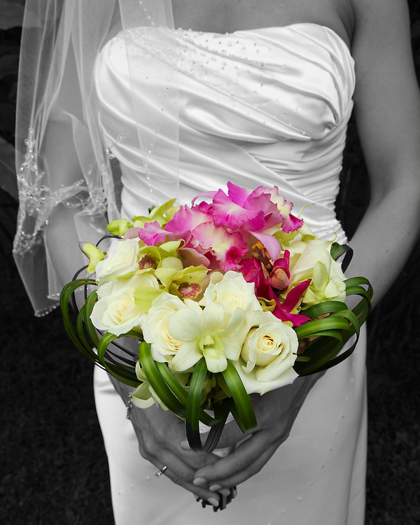 Bridal Bouquet with purple orchids, green orchids and white roses.