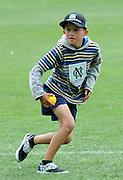 Cricket Fan Tommy Wilson looks to run at the National Bank's Cricket Super Camp , University oval, Dunedin, New Zealand. Thursday 2 February 2012 . Photo: Richard Hood photosport.co.nz