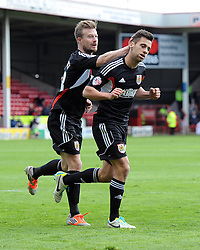 Bristol City's Sam Baldock battles for the ball celebrates with Bristol City's Wade Elliott - Photo mandatory by-line: Joe Meredith/JMP - Mobile: 07966 386802 12/04/2014 - SPORT - FOOTBALL - Walsall - Banks' Stadium - Walsall v Bristol City - Sky Bet League One
