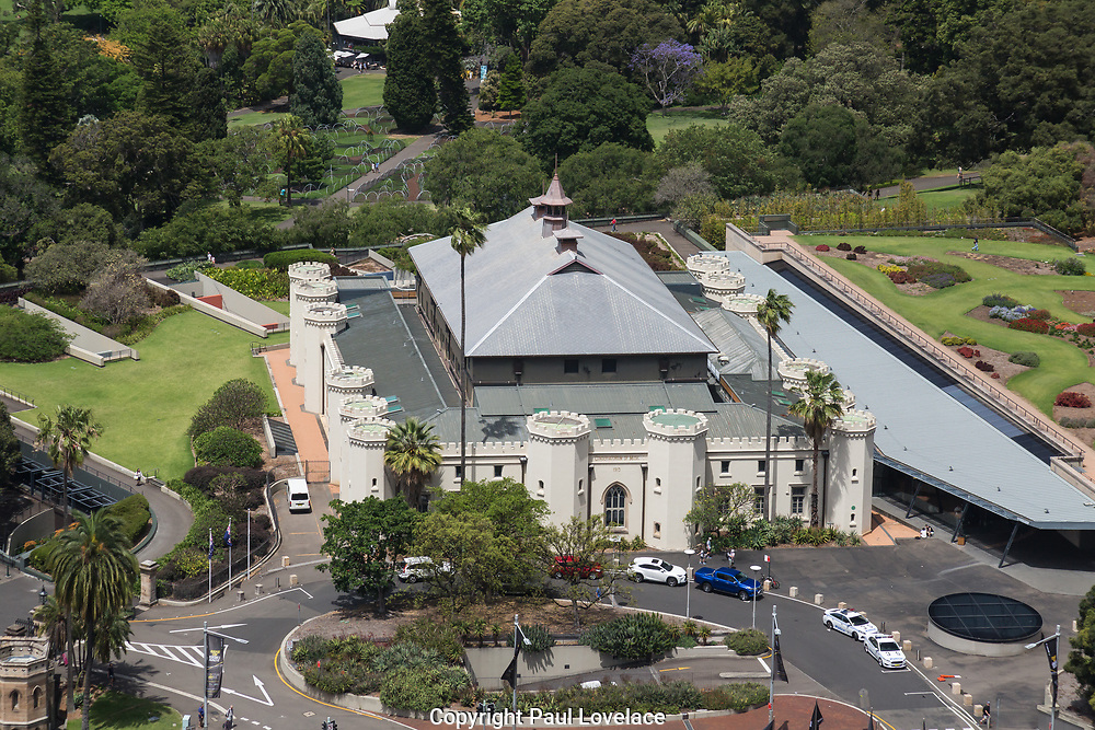 Open Sydney presented by Sydney Living Museuems. This event every year allows Sydneysiders to visit 40 of the city's most significant buildings and spaces across the CBD. Views of the Conservatorium of Music  from the rooftop of The AMP Building, Sydney.