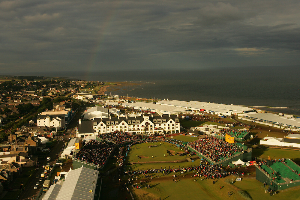 CARNOUSTIE, SCOTLAND - JULY 22:   A rainbow appears over the town of Carnoustie in this aerial view of the 18th green during the awards presentation for the 136th Open Championship in Carnoustie, Scotland at Carnoustie Golf Links on Sunday, July 22, 2007. (Photo by Darren Carroll/Getty Images) *** LOCAL CAPTION ***
