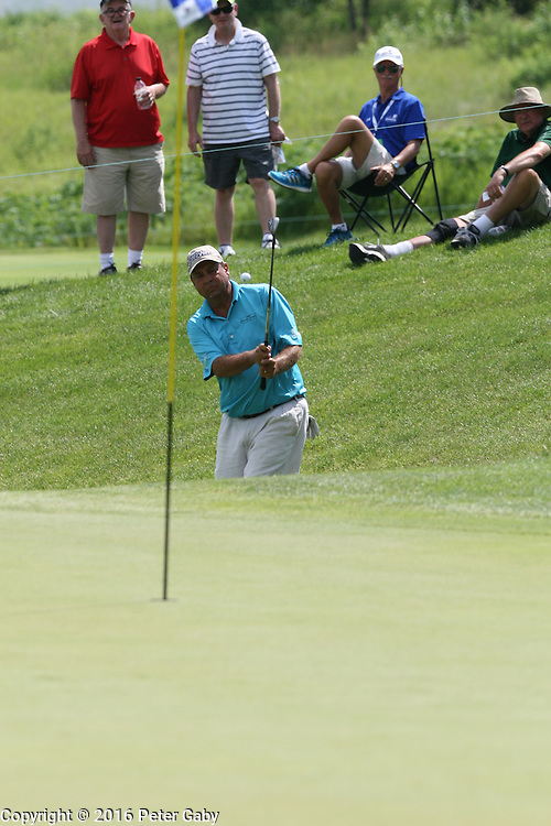 Carlos Franco chips onto the 9th green at the 2016 American Family Championship held at University Ridge Golf Course, Madison,  WI. on June 24, 2016.<br /> <br /> <br /> <br /> <br /> <br />  2016 American Family Championship held at University Ridge Golf Course, Madison,  WI. on June 23, 2016.